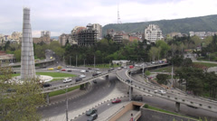 Heroes Square, flyover, traffic, Tbilisi, Georgia Stock Footage