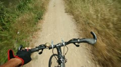 View from handlebars of man on bike Stock Footage
