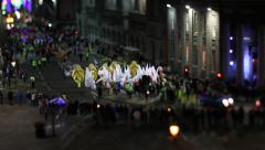 Colorful night parade tilt-shift timelapse - stock footage