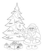 santa claus and christmas tree, contours - stock illustration