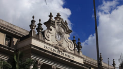 Sao Paulo State University Law School Facade Stock Footage