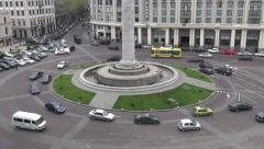 Traffic, Freedom Square, traffic, Tbilisi Stock Footage