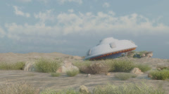 Crashed ufo in dusty environment Stock Footage