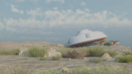 Stock Video Footage of crashed ufo in dusty environment