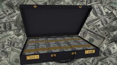 Open brief case full of US dollar bank notes - stock illustration
