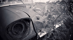 black and white antique car - stock footage