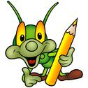 Stock Illustration of Happy Green Bug Painter