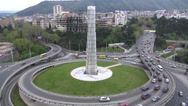 Stock Video Footage of Tbilisi, Georgia, Heroes Square intersection, traffic, roundabout
