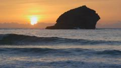 Portreath gull rock sunset, Cornwall England. Stock Footage