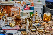 Stock Photo of old objects at Marolles district flea market in Brussels