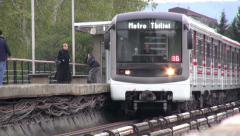 Tbilisi subway, metro train, public transport Stock Footage
