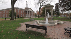 Town hall quad with fountain in autumn Stock Footage