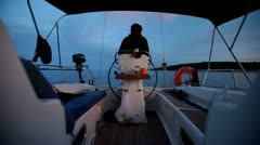 Skipper on sailing boat on Adriatic sea off the coasts of Croatia. Stock Footage