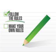 follow the rules check of approval - stock illustration