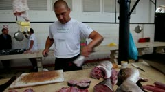 Split fish market Stock Footage