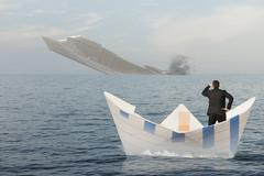 Stock Illustration of ship is sinking into the sea