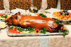 roast suckling pig - stock photo