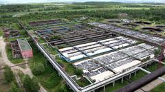Aeration basins for sewage treatment - stock footage