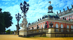 Sanssouci is summer palace of Frederick the Great,  in Potsdam, near Berlin. Stock Footage