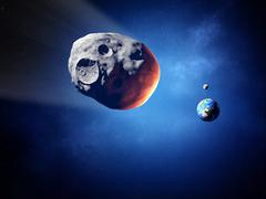 asteroid on collision course with earth (elements of this image furnished by - stock illustration