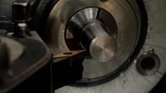Lathe Turning Out Side Aluminum Stock Footage