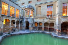 roman baths at avon england - stock photo
