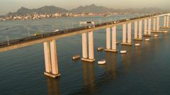 Aerial view of Rio de Janeiro - Niterói Bridge, Brazil - stock footage
