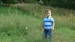 Toddler standing in wildflowers Stock Footage