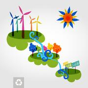 Stock Illustration of go green city wind mills, trees, solar panels and curly waterfall.