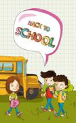back to school text children with social bubble education elements. - stock illustration