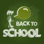 back to school text transparency boy with social bubble green chalkboard eps1 - stock illustration
