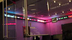 Double glass doors closing on  the Trading Room at a University Stock Footage