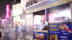 Street Vendor food cart in times square Stock Footage