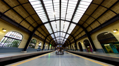 Historical train station Athens Piraeus day to night time lapse Stock Footage