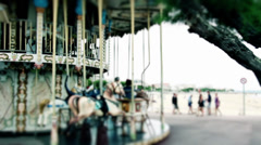 French carousel in the beach of Arcachon Stock Footage