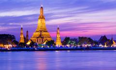 wat arun historical park and chawpraya river - stock photo