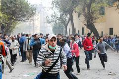 Massive revolution in Cairo, Egypt Stock Photos