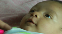 Close up of a two month old hispanic baby - stock footage