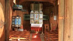 Norwegian Reinli stave church interior Stock Footage