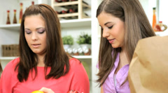 Close Up Caucasian Family Females Fresh Organic Produce Stock Footage