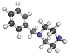 1-benzylpiperazine (bzp) recreational drug, molecular model. - stock illustration