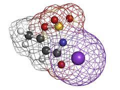 acesulfame artificial sweetener, molecular model - stock illustration