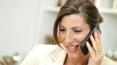 Close Up Businesswoman Smart Phone Home Kitchen Stock Footage