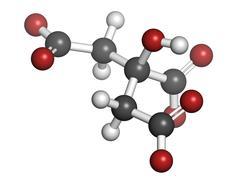Citric acid, molecular model Stock Illustration