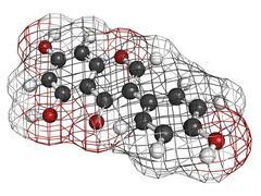 genistein isoflavone, molecular model - stock illustration