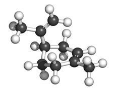 limonene citrus scent molecule, chemical structure - stock illustration
