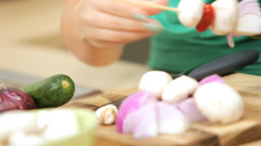 Hands Teenage Girl Kitchen Using Fresh Vegetables Stock Footage