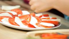 Hands Healthy Living Caucasian Girls Fresh Vegetarian Food Stock Footage