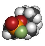 soman nerve agent, molecular model. soman is a chemical weapon, classified as - stock illustration