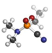 Tabun nerve agent, molecular model. tabun is a chemical weapon, classified as Stock Illustration